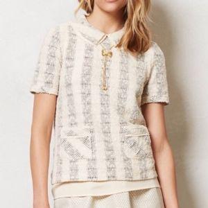 Anthropologie Knit Blouse Layered Peter Pan Collar